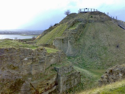 The remains of the motte and barbican at Sandal Castle.