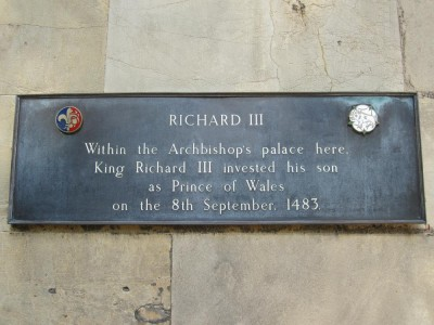 The site of Edward of Middleham's investiture as Prince of Wales is still marked in York today